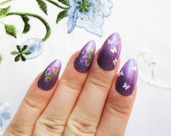 Butterfly Garden - Purple Fake Nails, Stiletto Nails, False Nails, Press on, Nails, Almond Nails, Flowers, Butterflies, Glitter, Pretty