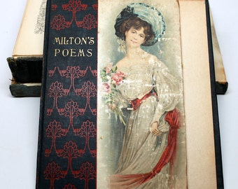 Shabby Chic Vintage Book Cover*Journal Making Supplies*Victorian Poetry Book Cover*Gutted Books