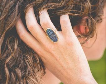 Dark Blue Druzy ring  Titanium Druzy Ring , Oval Druzy Gold ring , Platinum Druzy ring , Bezel wrapped statement ring  - Any size avalible