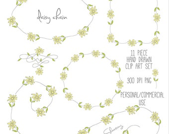 Hand Drawn Daisy Clip Art, Wreath, Frames, Borders, Garland, Scrolls, Swishes, Wedding, Invitations, Photo Overlay, Personal and Commercial