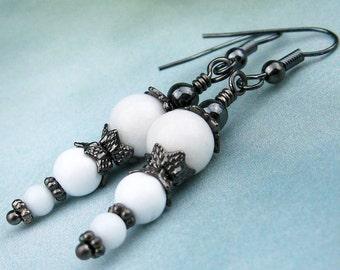 Dangle Earrings, White Jade, Semi Precious Stones, Gunmetal Beads, Victorian Style, Dramatic Jewelry, Handmade,  Fashion Earrings, Elegant