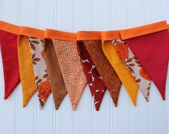 Autumn Harvest Fabric Banner. Fall Bunting. Thanksgiving Pennant Garland. Fall Decor. Juliana Horner. Photography Prop. Give Thanks Banner.