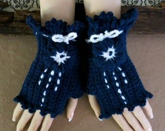 Crochet Fingerless Gloves, Blue Corset Wool Gloves, Arm Warmers, Gothic Gloves, Blue White Burlesque Wrist Gloves, Australia