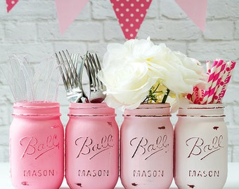 Mason Jar Painted & Distressed - Ombre Pink