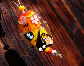 Cat Bead - two spacer beads - by Ulrike Dietrich