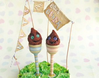 Alternative Wedding Cake Topper - Nuts for Each Other Coconut Shy quirky niche Fairground Village Fete marriage Decor Polymer Clay
