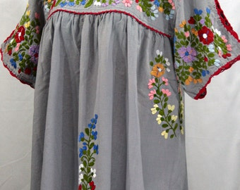 "Mexican Blouse XL: ""Lijera Libre"" by Siren in Grey with Multi-Color Embroidery"