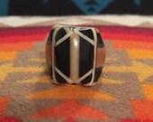 Vintage Celluloid Bakelite Folk Art Prison Ring by Bob Dodd (Size 7-1/2)