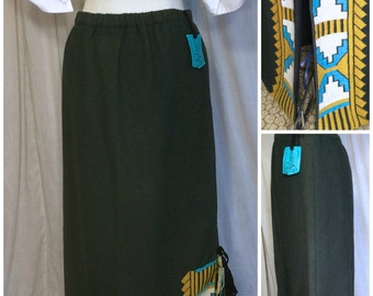 90s Joyce Onarheim Boe Sante Fe Indian Hand Embroidered Cotton Tassel Column Skirt