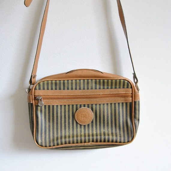 56de118b25 Vintage Fendi Canvas   Leather Small Cross Body Bag