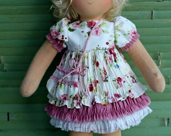 "Waldorf doll 15-16  inches Doll in a dress in the style of ""boho""- gift for girls"