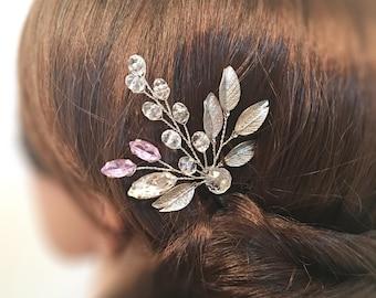 Wedding hair piece, bridal hair accessories, hair piece silver hair pin, bridal hair piece, wedding hair accessories, floral hair piece
