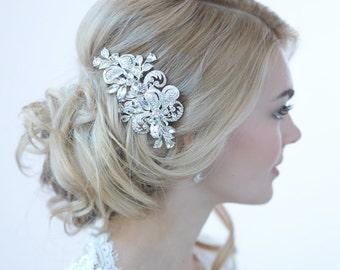 Rhinestone Bridal Hair Clip, Wedding Hair Accessories, Silver Wedding Hair Clip, Rhinestone Wedding Hair Clip, Decorative Hair Clip ~TC-2271