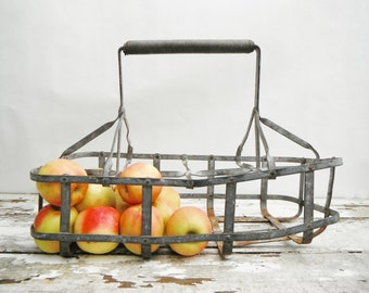 Vintage Metal Milk Carrier