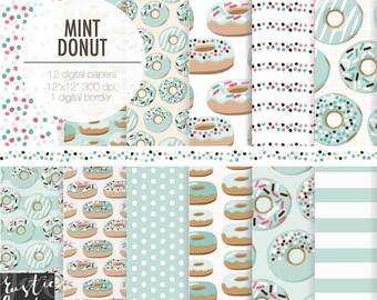 Mint DOUGHNUT digital paper.  MINT DONUT party digital scrapbooking paper, Newborn, baby shower party mint digital paper.