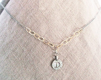 D personalized handmade initial necklace, D elegant high-end letter coin necklace, gold filled silver mixed-metal artisan D jewelry gifts