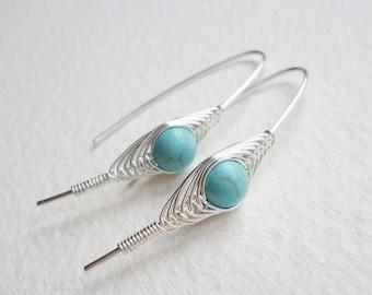 ON SALE Turquoise silver Earrings, Wire Wrapped Earrings, herringbone, December Birthstone