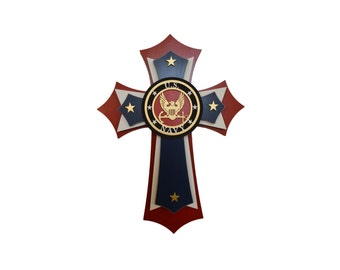 "Navy Cross Military Decorative Wall Crosses 11"" x 15"" Inch Tall"