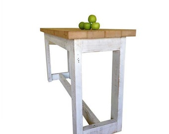Flash Sale! Industrial Recycled Petite Shabby Chic White & Natural Wood High Bench Kitchen Island / Dining Table / Bar Table / Console