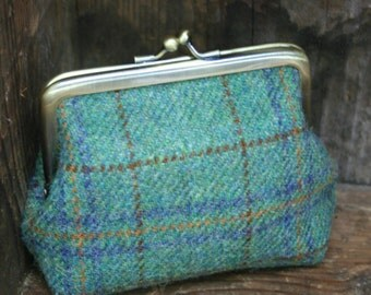 Tweed clasp purse with floral lining