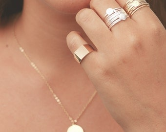 Gold Signet Ring Dainty Pinky Ring Geometric Square Gold Filled Or Silver Ring Engraved Solid Gold Ring Delicate Everyday jewelry.