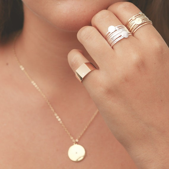 Gold Signet Ring Dainty Pinky Ring Geometric Square Gold