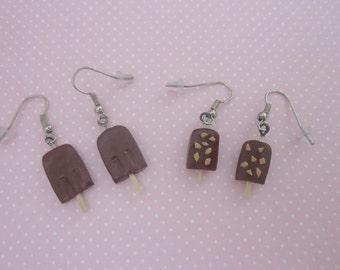 Popsicle earrings, fudgesicle earrings, food jewelry, chocolate earrings, polymer clay food