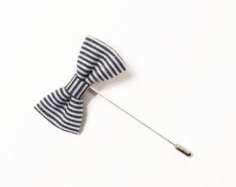 Stripe Denim Bow Tie Lapel Pin