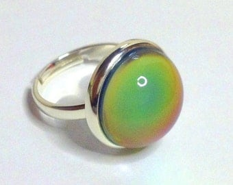 Mood Ring Sterling Silver 925  - 16 mm - High Quality - adjustable - new