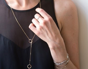 Gold Lariat Necklace Long Gold Necklace Gold Drop Necklace Gold Y Necklace Gold Circle Necklace