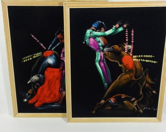Black Velvet Matador Painting - Bull Fighting  - Vintage Black Velvet - Set of 2 Kitsch Velvet Paintings