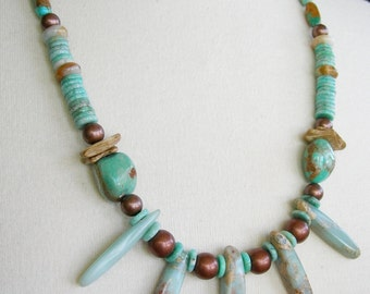 5th Fifth Throat Chakra Healing, Blue Green Turquoise, Amazonite Variscite/Impression Jasper, Gemstone, Wood Copper Long Statement Necklace