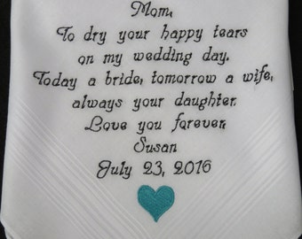 Free GIFT Box included. Personalized Wedding Handkerchief for the Mother of the Bride or Mother of the Groom. Embroidered Custom Gift.