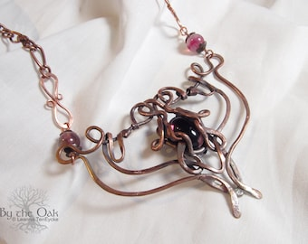 Hammered rustic copper Stagheart - Forged Copper - Wire Wrapped Necklace Fantasy Jewelry Rustic Dark Copper and Purple Glass Wirewrapped