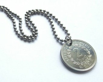 Costa Rican Coin Necklace - Stainless Steel Ball Chain or Key-chain - Costa Rica - 1982 - Central America