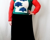 Plus Size - Vintage Green & blue Floral Design Pull Over Sweater Vest (Size 12/14)