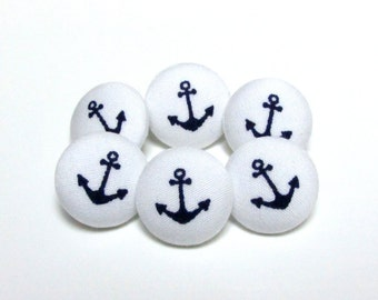 Fabric Buttons - 6 Medium Buttons - Navy Blue Fabric Covered Buttons - Anchor Sew Buttons - Navy Sewing Buttons - Anchor  Anker Marine Sea