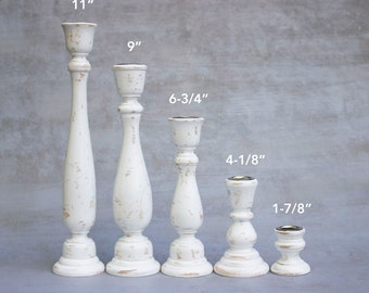 Single Candlesticks and Sets of Small Sizes - Any Color Wooden Candlesticks - Shabby Chic Distressed Wood Candle Stick Holder