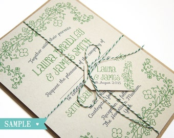 Country Flowers Wedding Invitation Rustic Eco SAMPLE