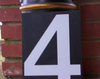Number 4/Vintage plastic number/Black and white plastic number/Plastic numbers/Salvage plastic/Salvage number/Number /Vintage number