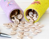 "24 or 50 Wooden Buttons - Small and Medium - Wooden Buttons in a muslin bag - Natural wood buttons - Wooden Buttons - 1/2""  & 5/8"" buttons"
