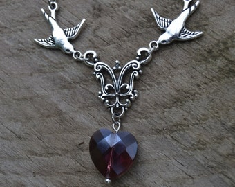 Purple heart necklace - Romantic Jewelry - Swallows necklace silver facing bird necklace - Rockabilly Jewelry