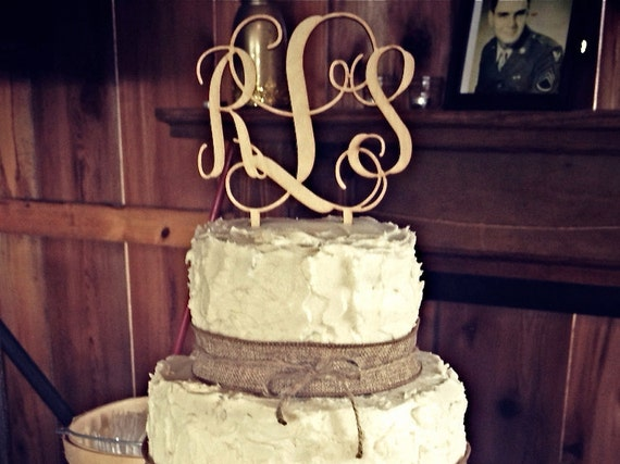 "Monogram Wedding Cake Topper, Couples Monogram Cake Topper, Custom Cake Topper, 5"" Wood Script with Spikes - UNFINISHED"