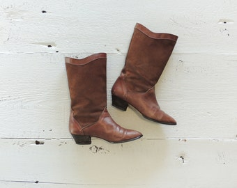 Tall Suede Boots/Brown Suede Boots/Cognac Leather Boots/60's-70's Boots/Boho Boots/Western Boots/Worn Leather Boots/Distressed Boots/Rustic