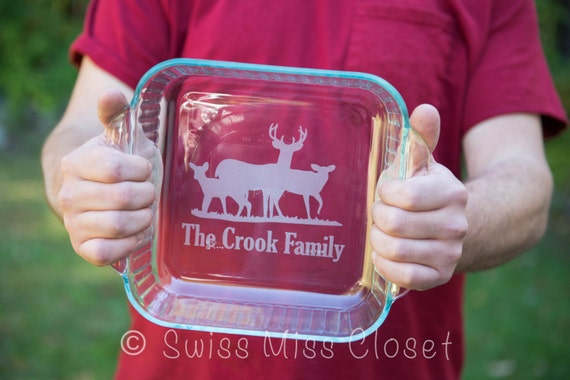 Sale!! Personalized 8x8 inch 2 Quart Glass Baking Dish AND Cover Custom Etched MADE in the USA