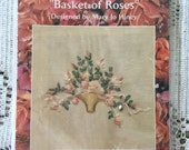 "Creative Beginnings ""Basket of Roses"" Silk Ribbon Embroidery Kit 3 1/4"" x 4"""