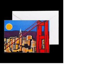 San Francisco Golden Gate Bridge #2 - 4 Greeting Cards By Artist A.V.Apostle