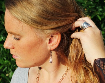Boho Tribal Jewelry, Hand Stamped Falcon feather drop earrings in copper