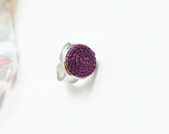 Dark purple ring with crocheted element, elegant circle ring, gift for her, statement ring