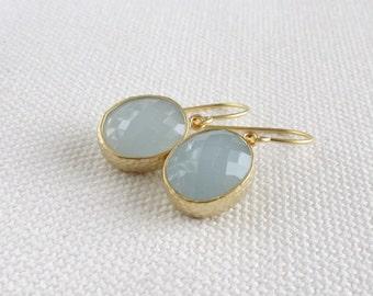 Pale Blue Glass Earrings, Oval Modern Gold Dainty Earrings, Bezel, Pastel, Modern Bridal